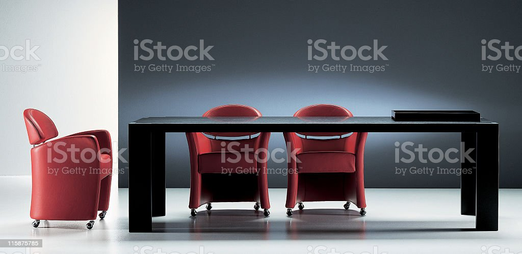 Modern dinning room table and chairs royalty-free stock photo