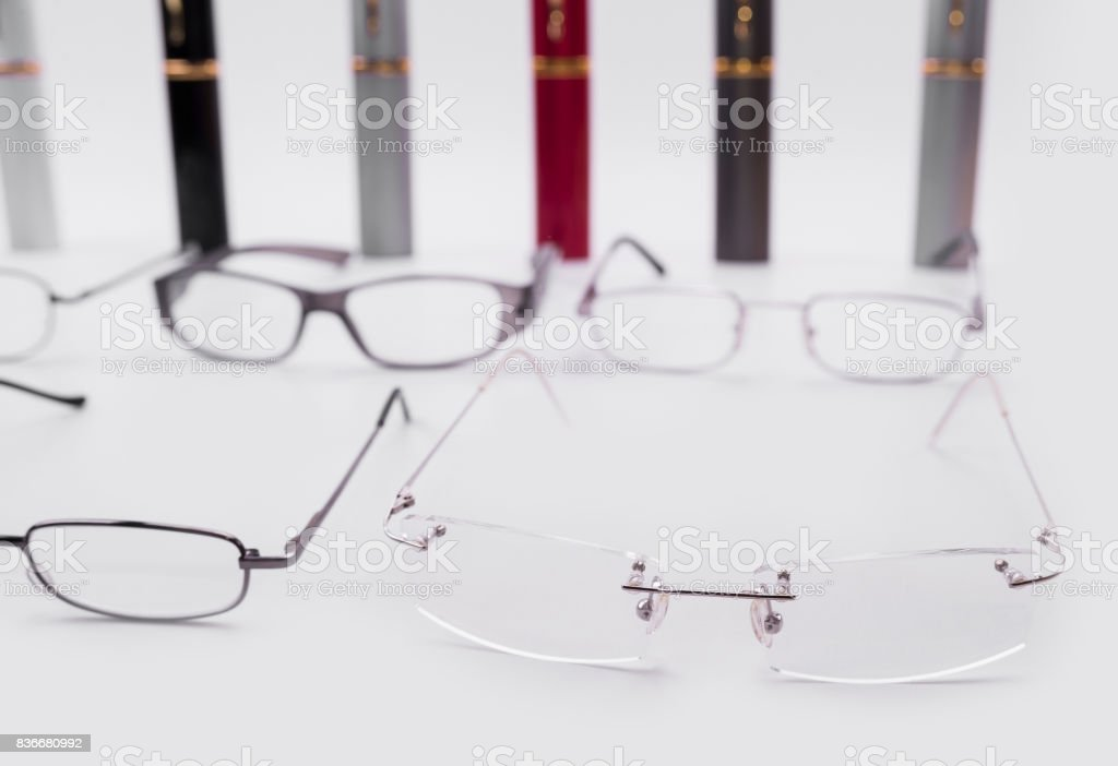 Modern dioptrical frames for plastic and metal glasses with cases stock photo