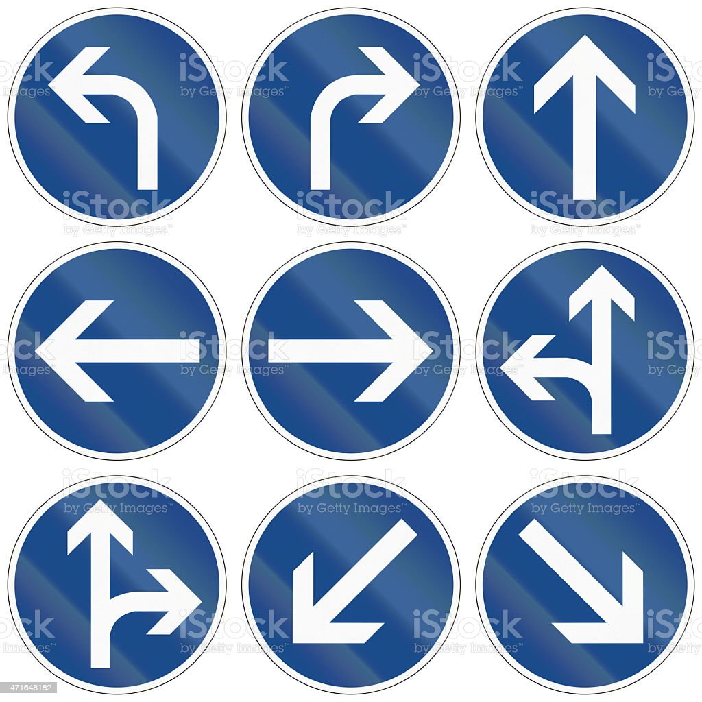 Modern Direction Signs In Germany stock photo
