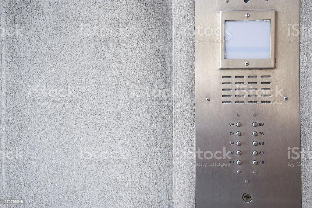 Modern Door Intercom in Stainless Steel royalty-free stock photo