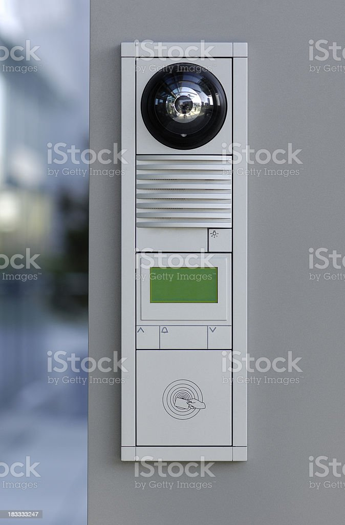 Modern door security system for access cards and intercom stock photo