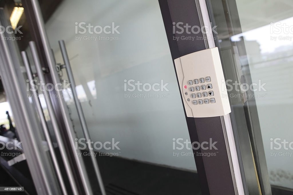 Modern Door with safety  combination stock photo