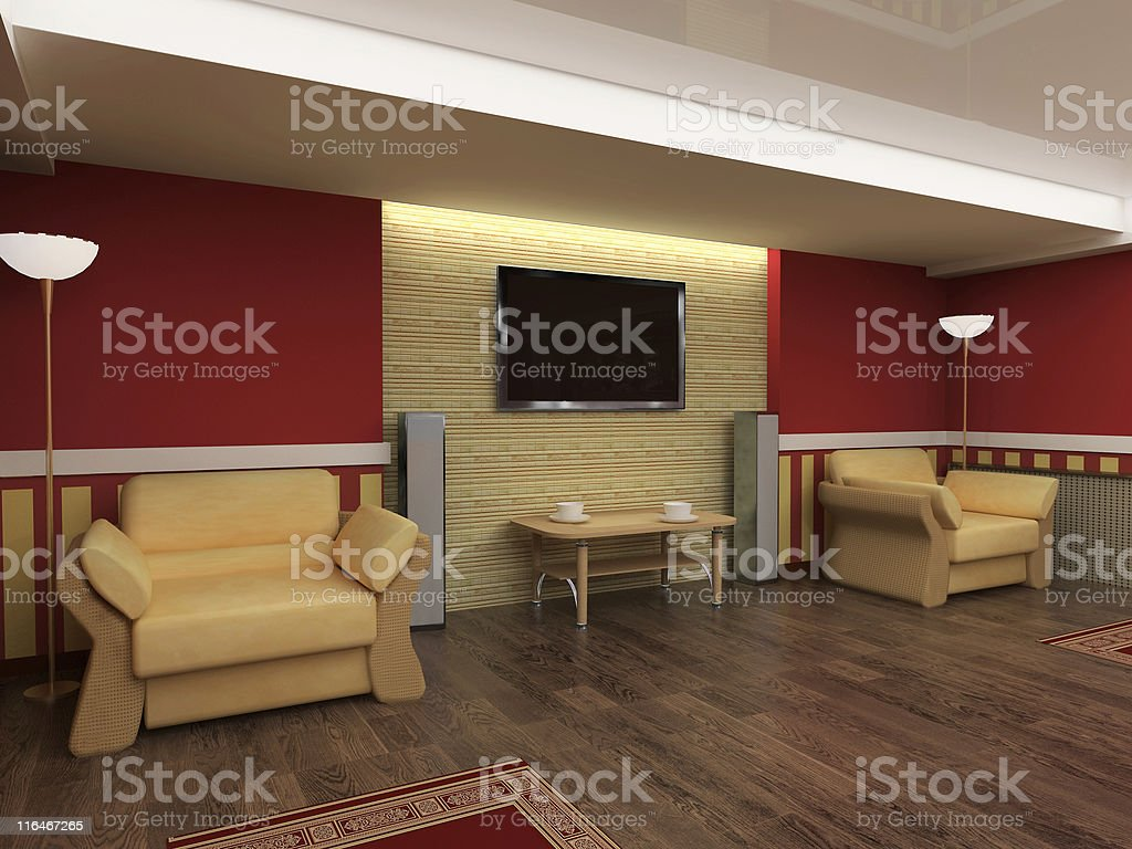 A modern drawing room with leather chairs and TV on wall royalty-free stock photo