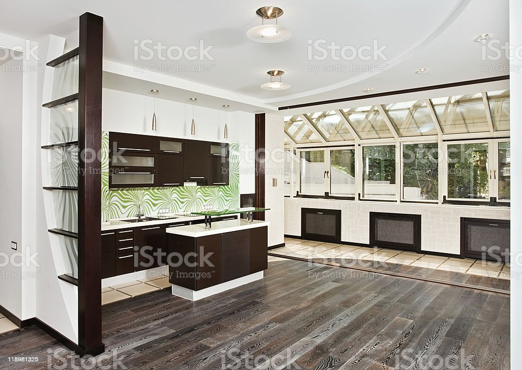 Modern Drawing-room (studio) and Kitchen interior with dark Wooden floor stock photo