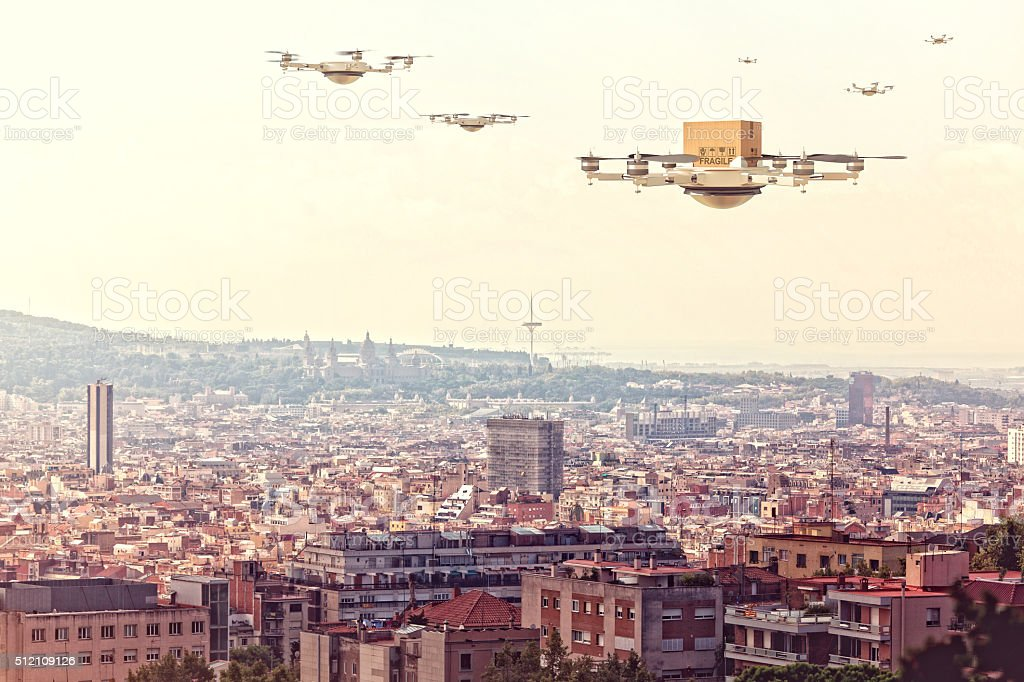 modern drone delivery stock photo