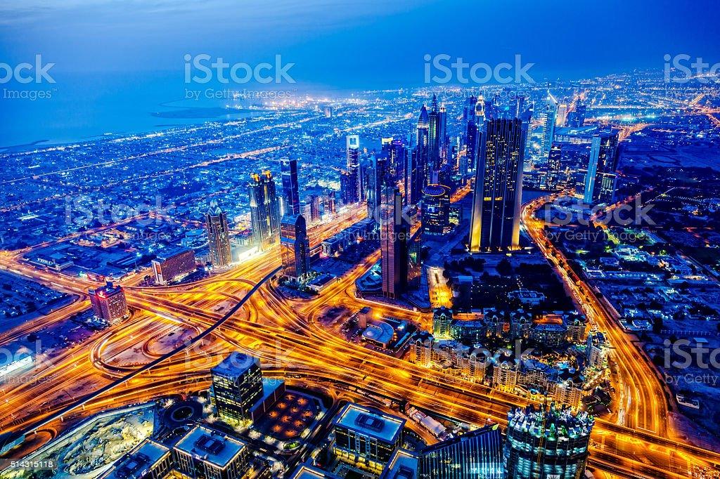 Modern Dubai cityscape at twilight, United Arab Emirates stock photo