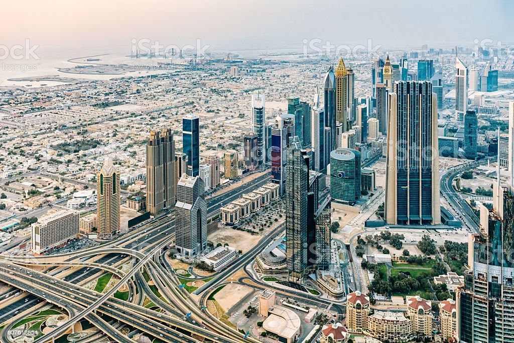 Modern Dubai cityscape at twilight, United Arab Emirates stock photo
