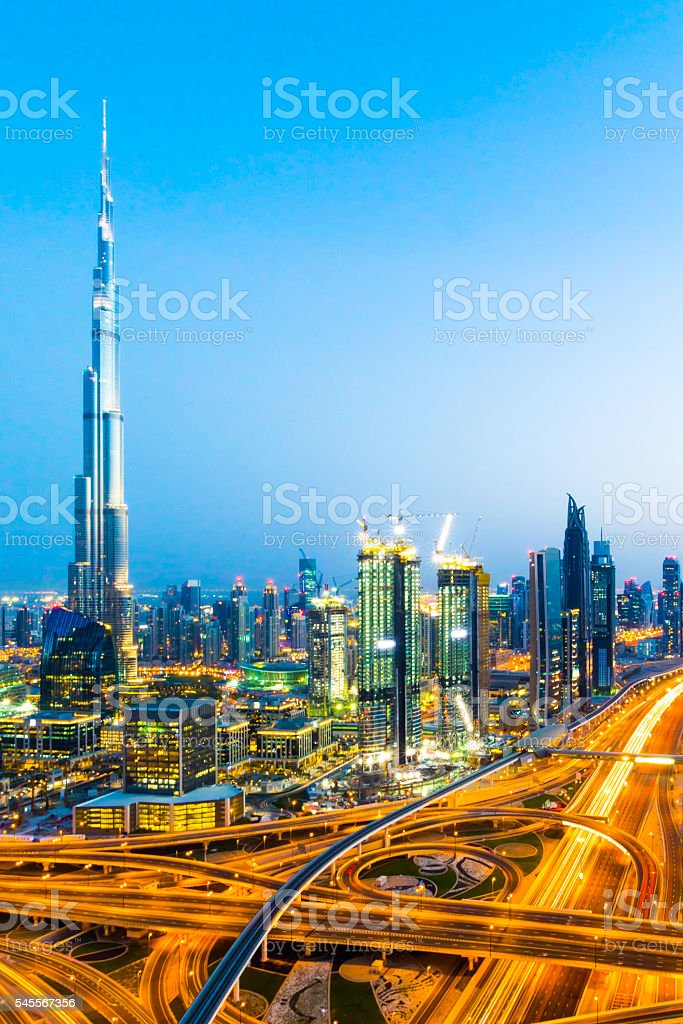 Modern Dubai Downtown District stock photo