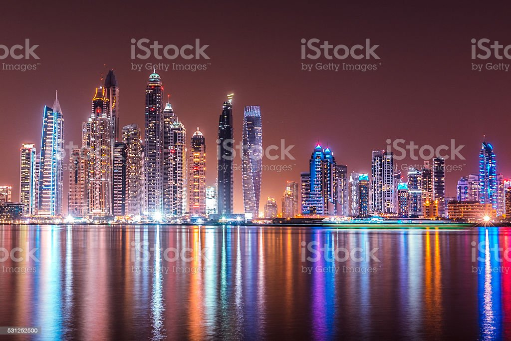 Modern Dubai Marina Skyscrapers, United Arab Emirates stock photo
