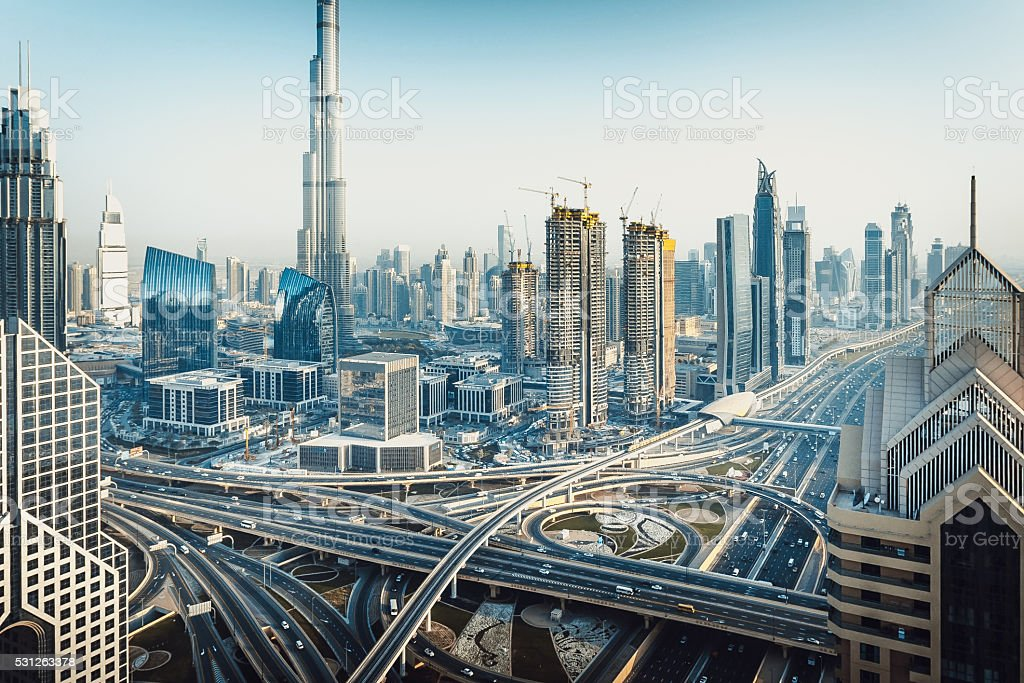 Modern Dubai Skyline, United Arab Emirates stock photo