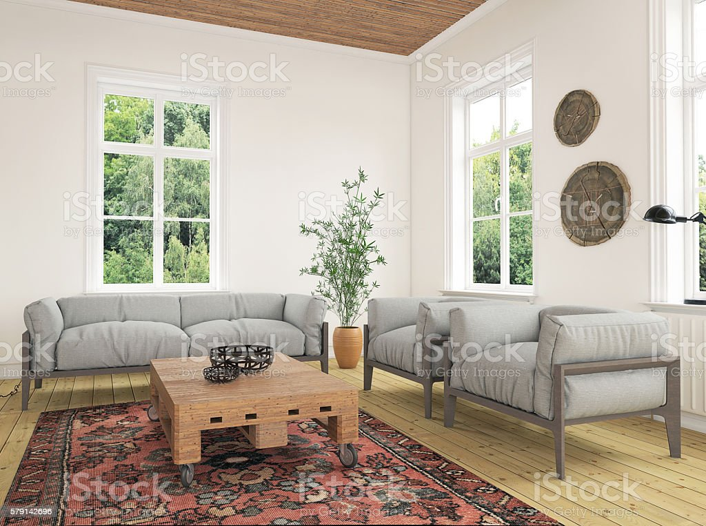 Modern eclectic living room interior stock photo
