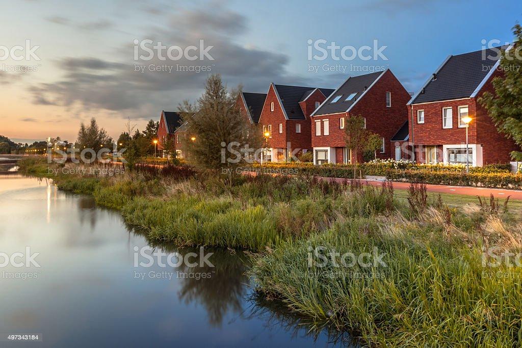 Modern Eco friendly suburban street stock photo