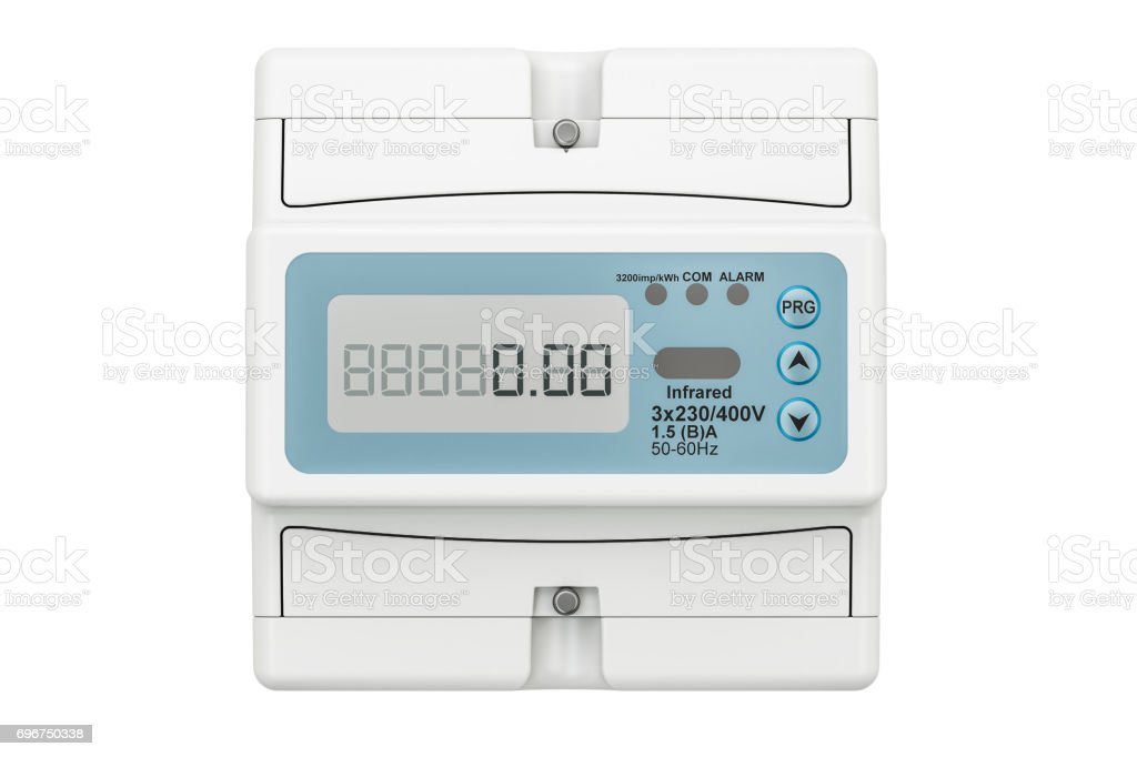 Modern electric meter, 3D rendering isolated on white background stock photo
