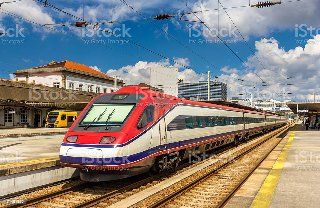 Modern electric train at Porto-Campanha station - Portugal stock photo