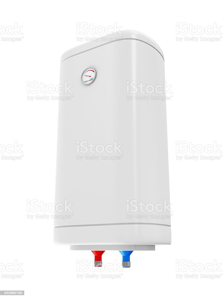 Modern Electric Water Heater isolated on white background stock photo