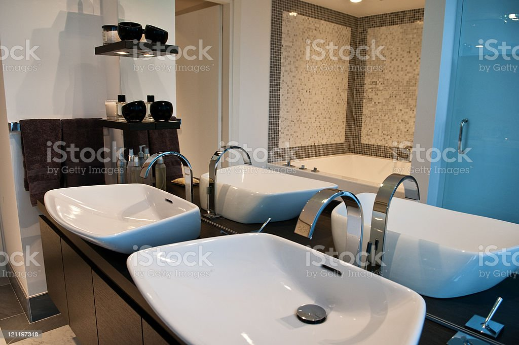 Modern Elegant Home Bathroom stock photo