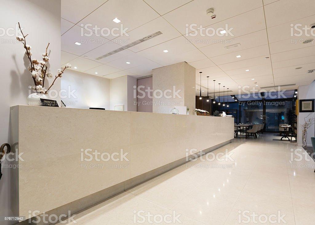 Modern elegant hotel reception stock photo