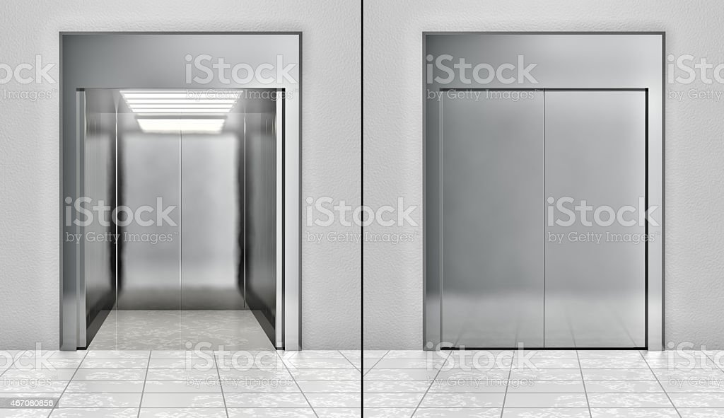 Modern elevator set stock photo