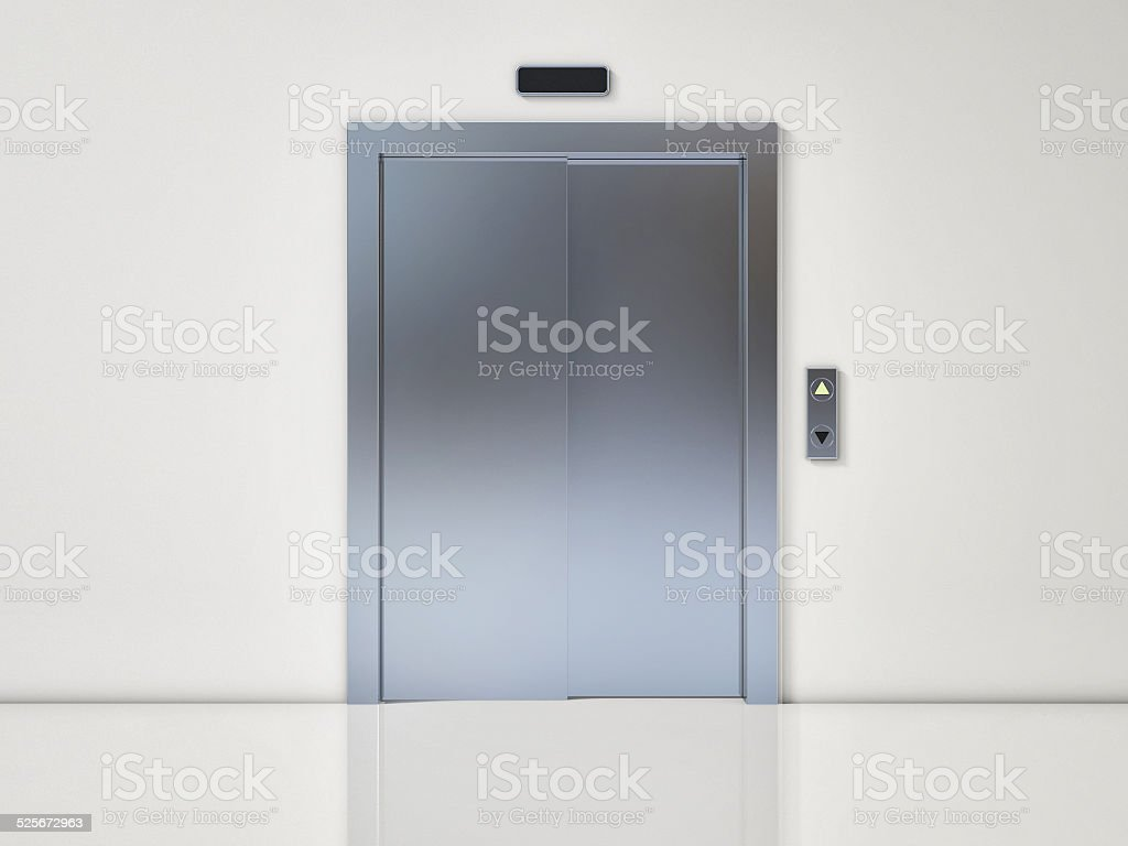 Modern Elevator with Closed Door on White Wall stock photo