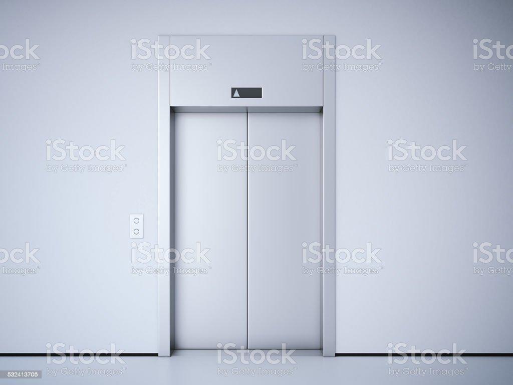 Modern elevator with metal  doors. 3d rendering stock photo