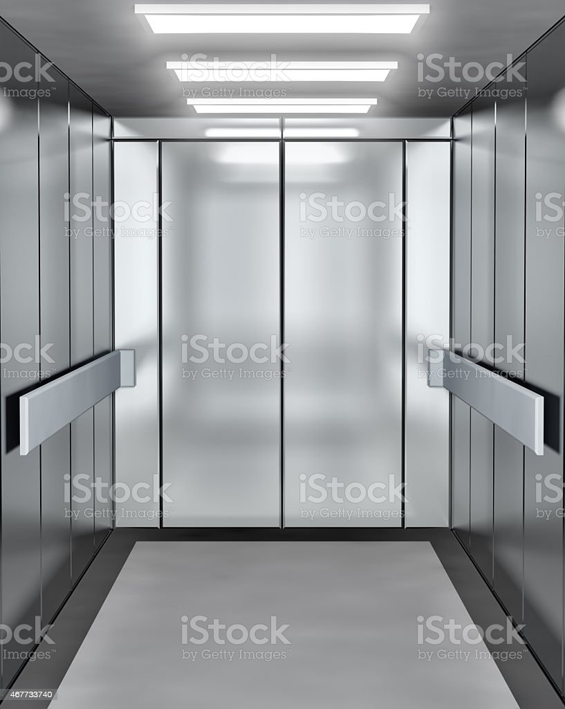 Modern elevator with opened door stock photo
