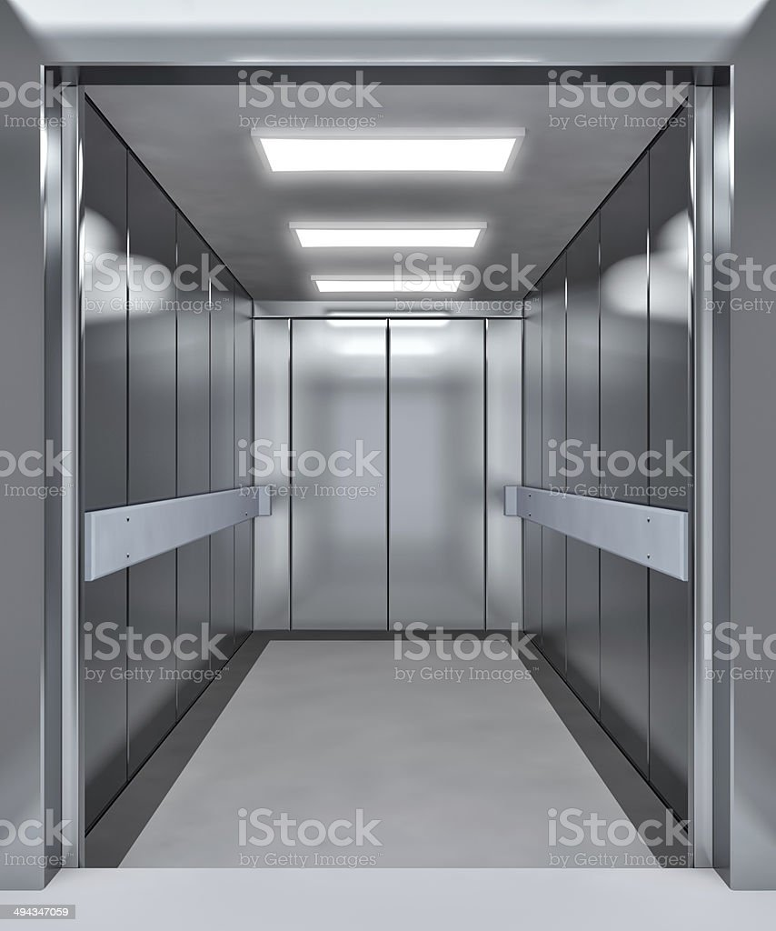 Modern elevator with opened doors stock photo