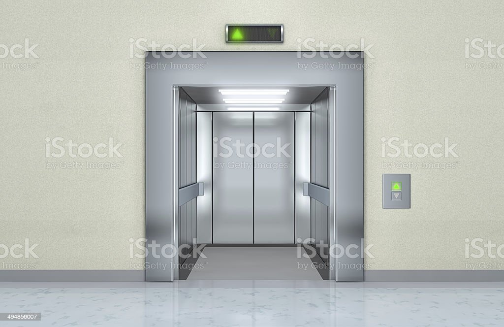 Modern elevator with opened doors stock photo