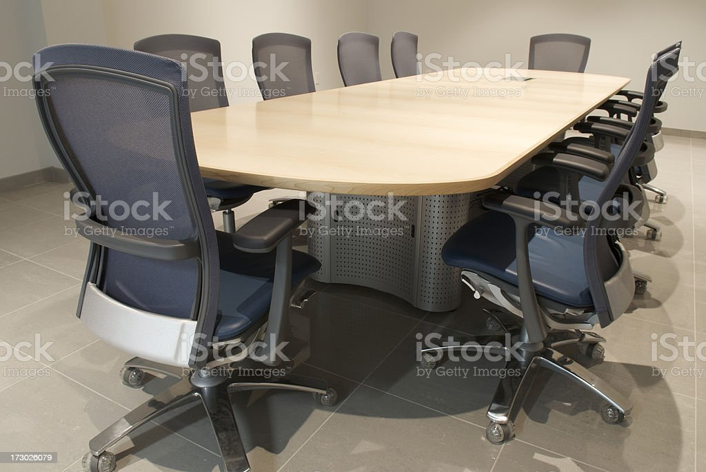 Modern Empty Boardroom Office Conference Table and Chairs stock photo