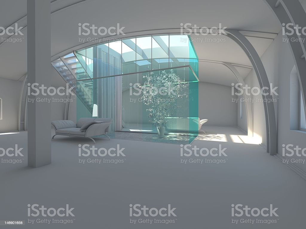 Modern empty interior with plant and sofa royalty-free stock photo