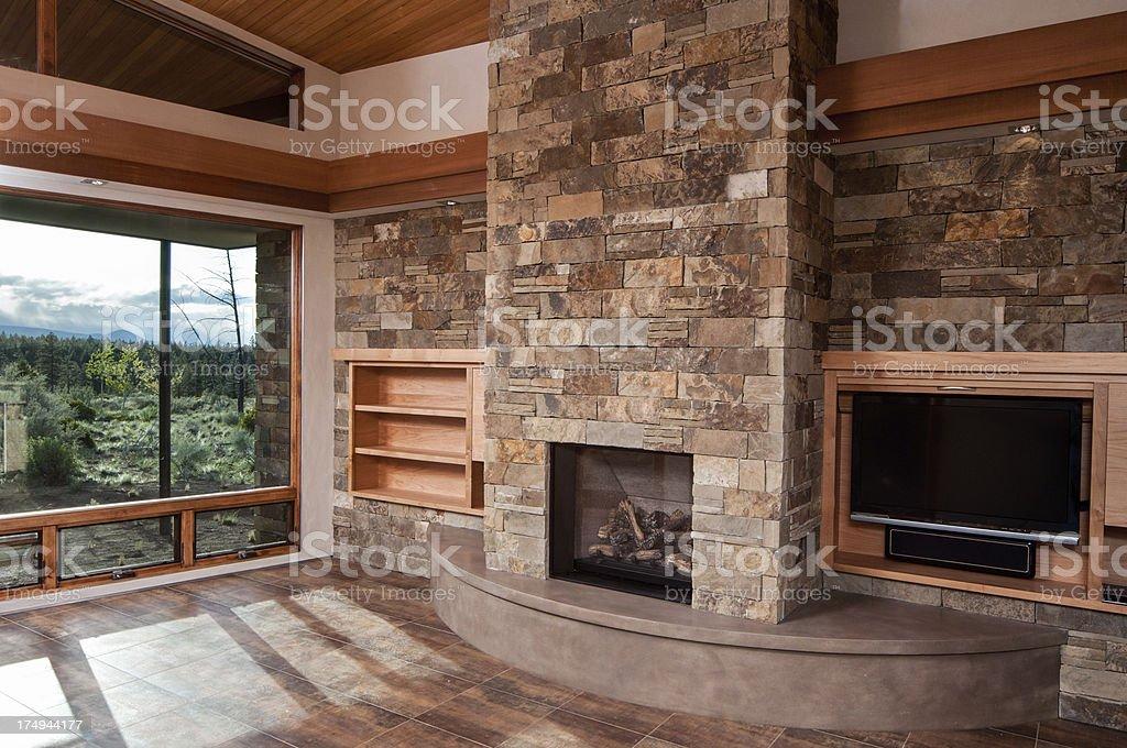 Modern empty living room stock photo
