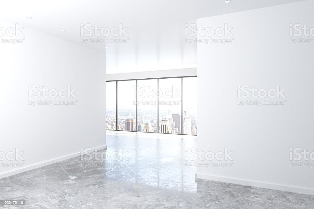 Modern empty loft room with big windows, white wall stock photo