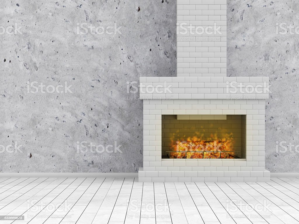 Modern Empty Room 3D illustration, Interior with Burning Fireplace stock photo