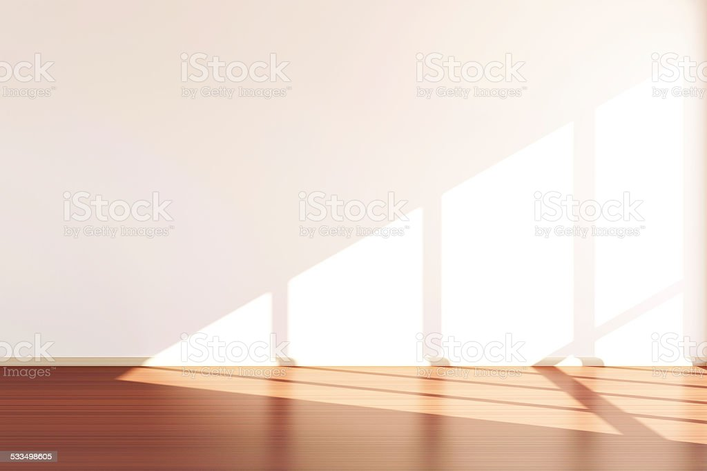 Modern Empty Room 3D Interior with Sunlight stock photo