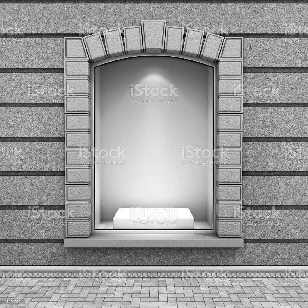 Modern Empty Store Front with Big Window. stock photo