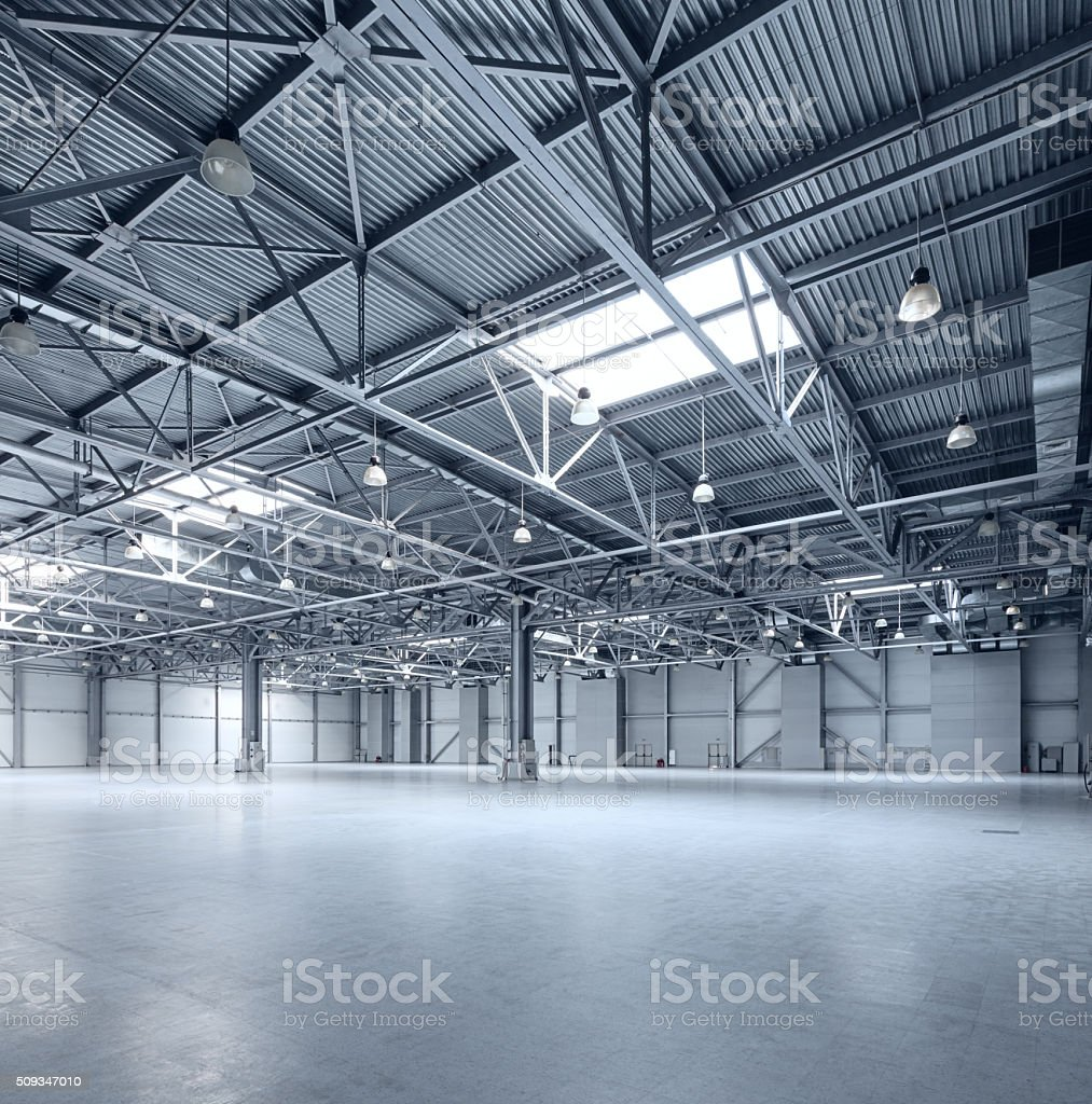Modern empty storehouse stock photo