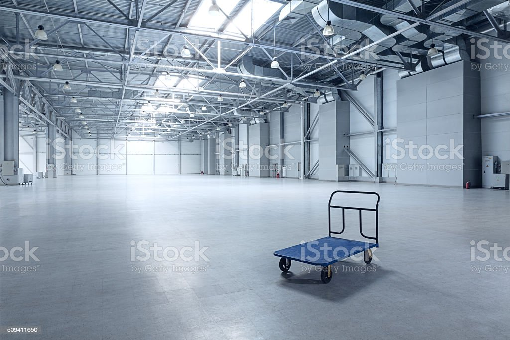 Modern empty storehouse stock photo