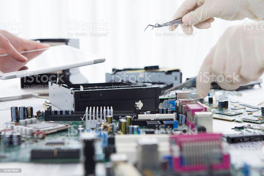 Modern engineers stock photo