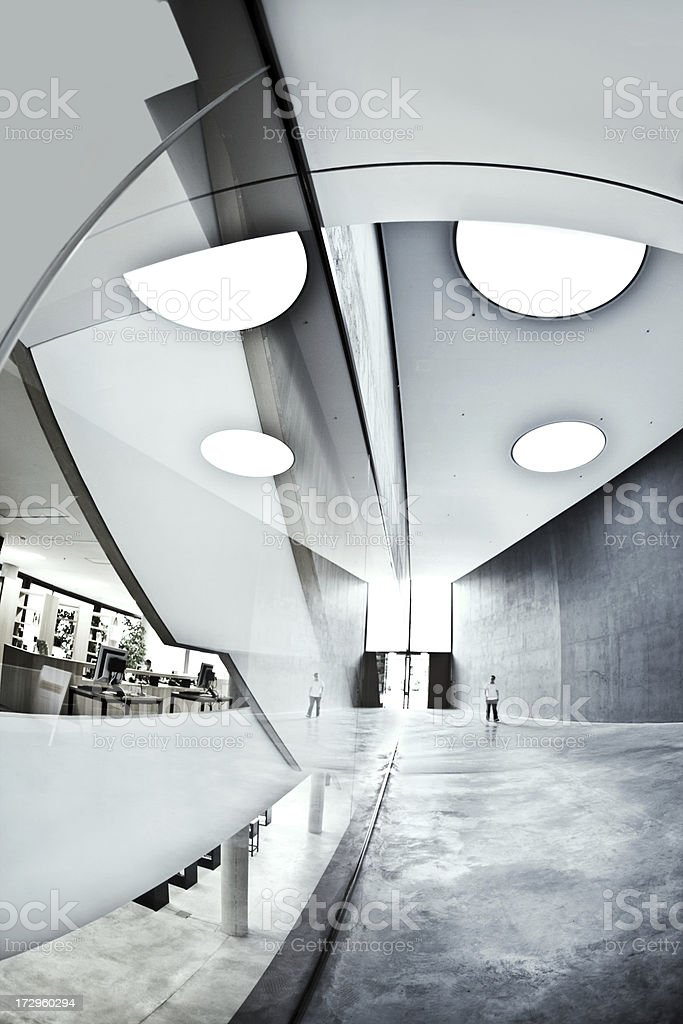 Modern entrance hall architecture black and white royalty-free stock photo