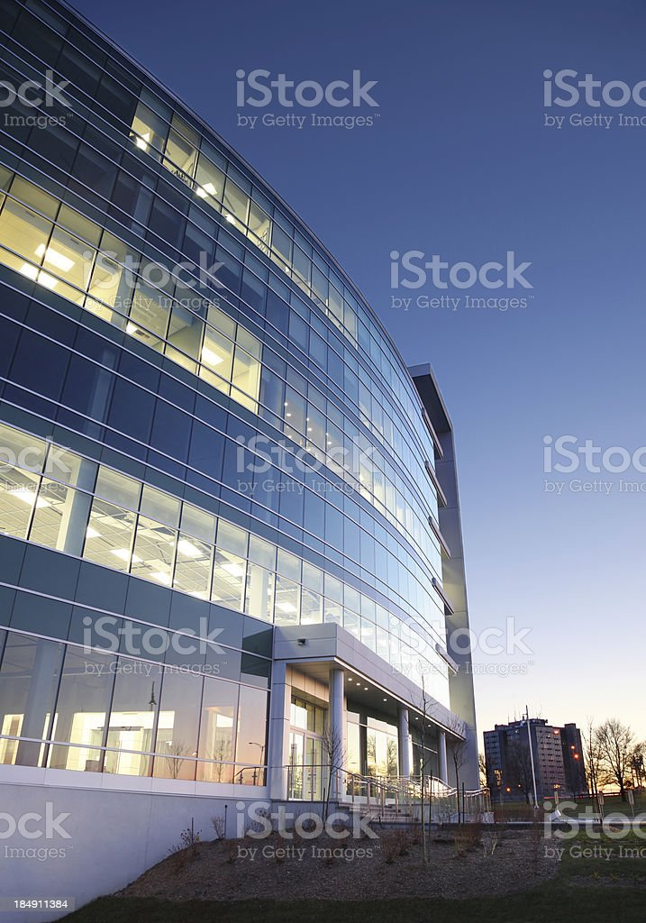 Modern Entreprise Exterior at Sunset stock photo