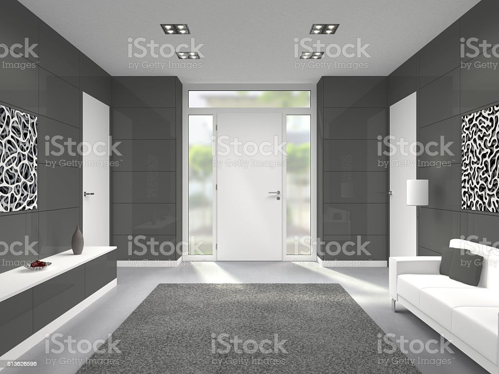 modern entry interior with front door stock photo