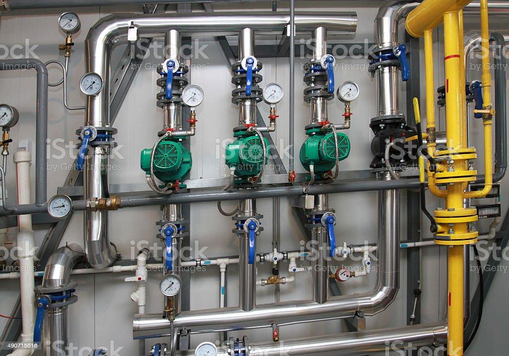 modern equipment in a boiler-house stock photo
