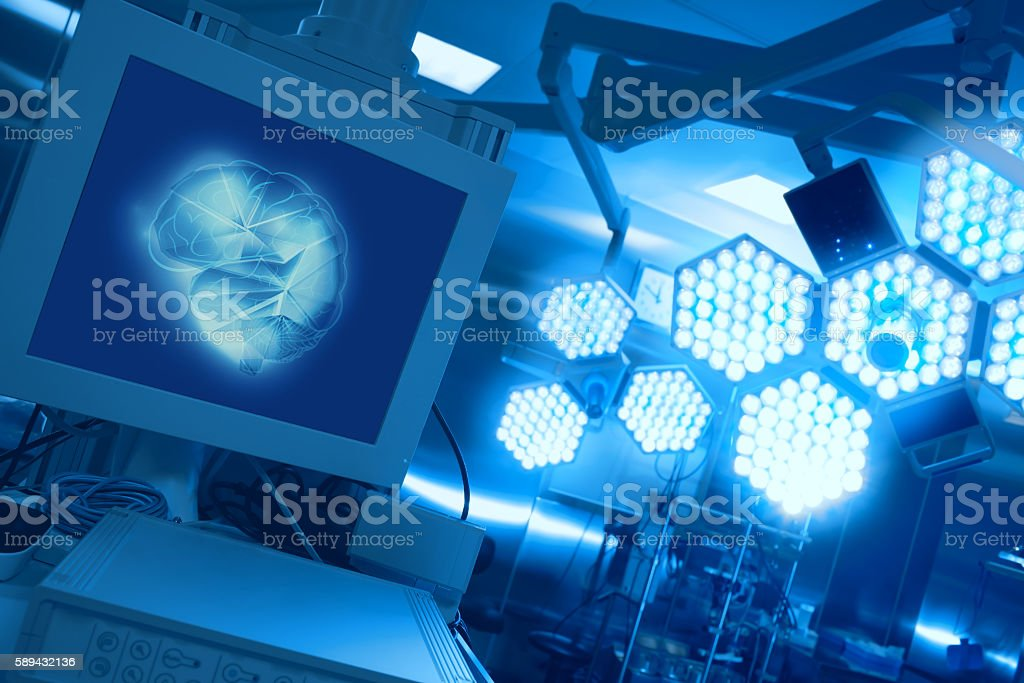 Modern equipment in the operating room stock photo