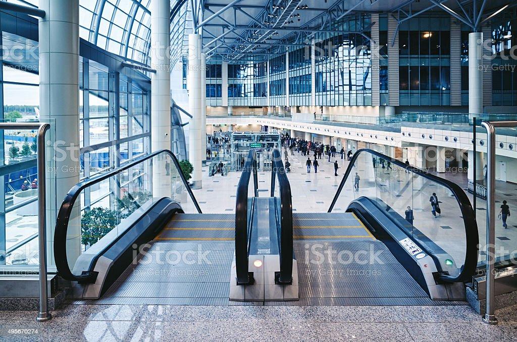 Modern escalator airport stock photo
