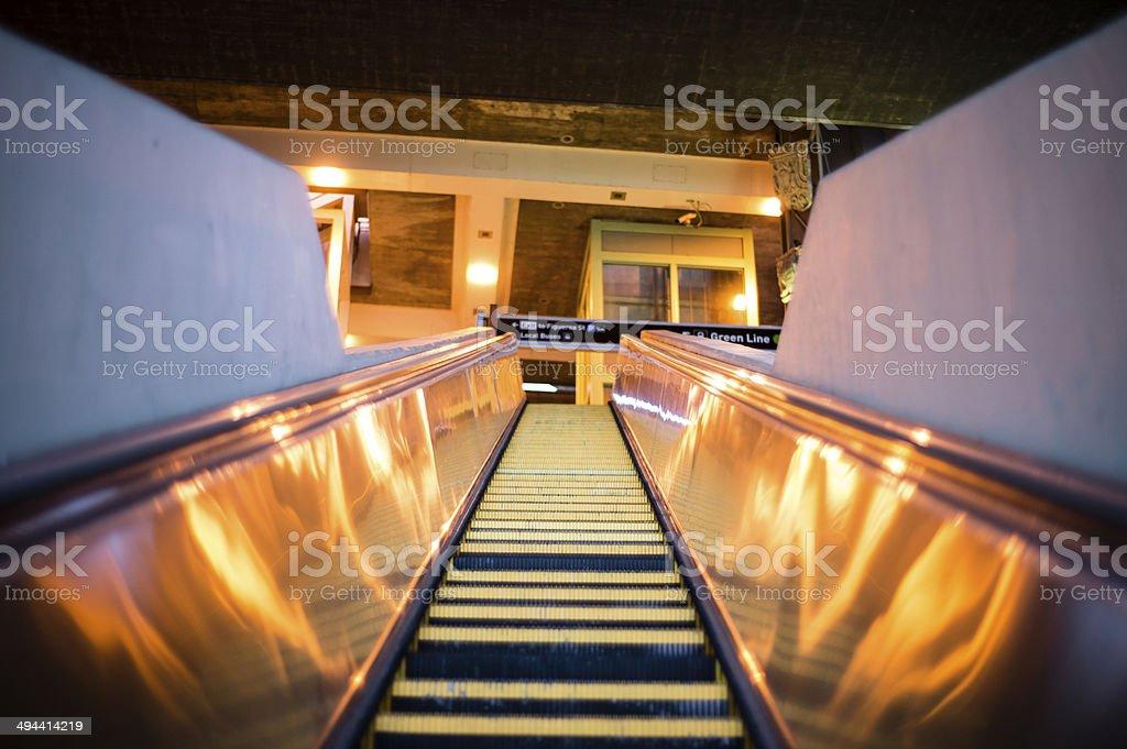 Modern escalator in Los Angeles stock photo