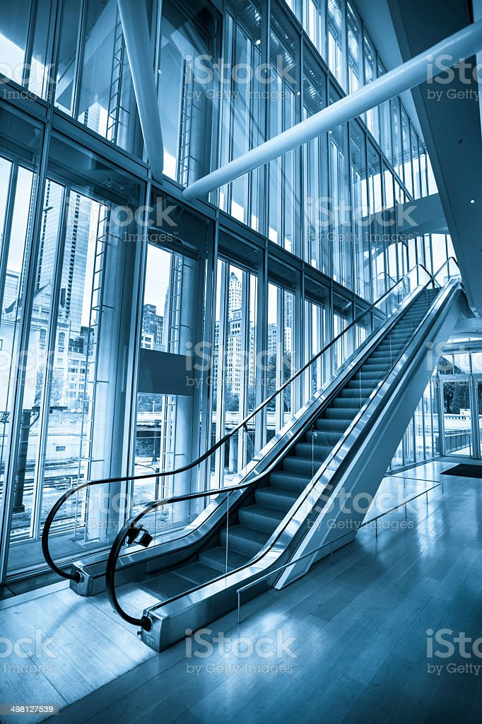 Modern escalator metal steps royalty-free stock photo