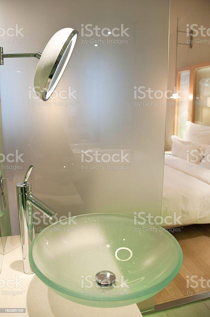 Modern European Bathroom Overlooking into the Bedroom stock photo