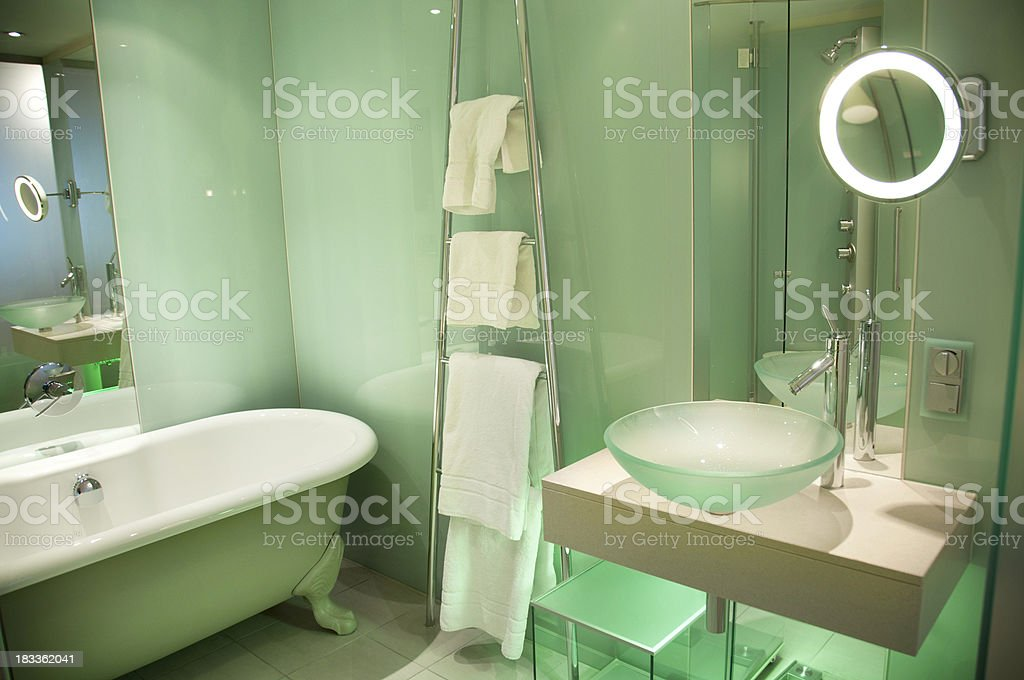 Modern European Bathroom with Glass Panel Walls royalty-free stock photo