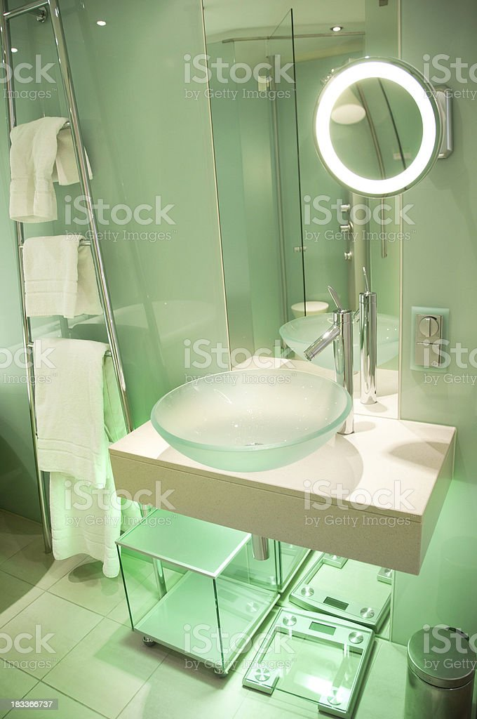 Modern European Bathroom with Glass Panel Walls stock photo