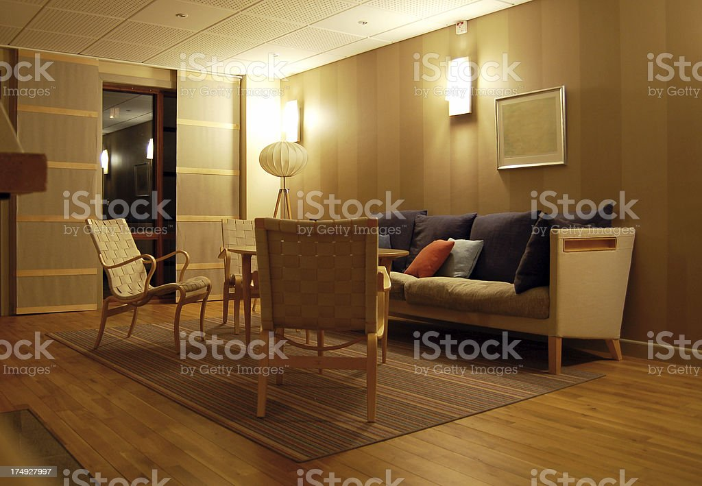 Modern European / Scandinavian Style Living Room stock photo