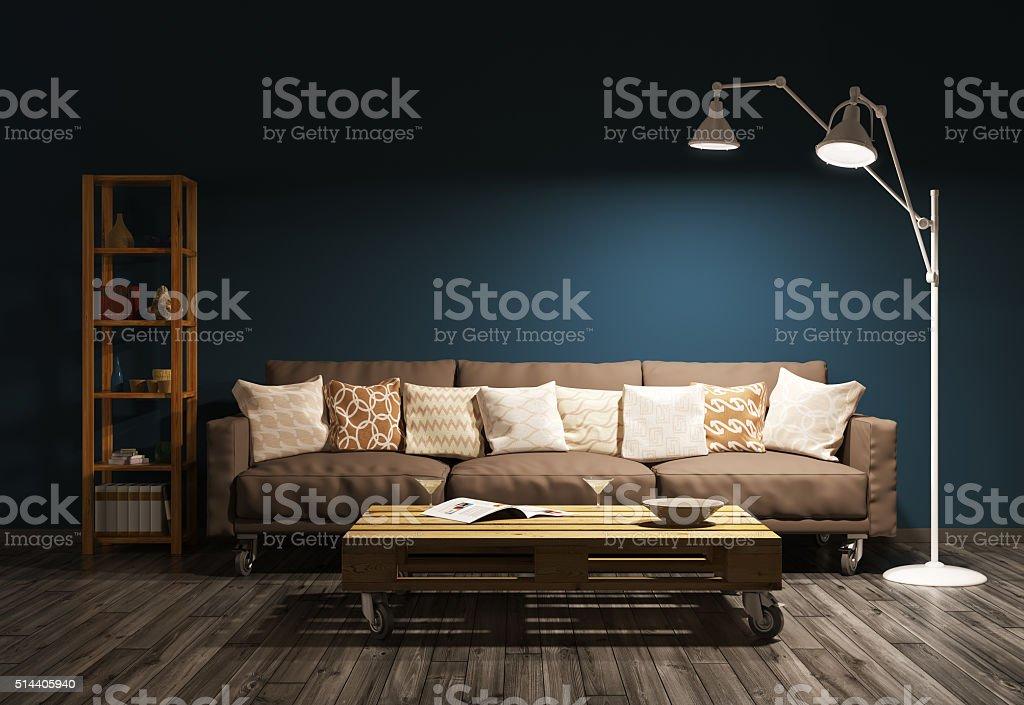 Modern evening interior of living room 3d render stock photo
